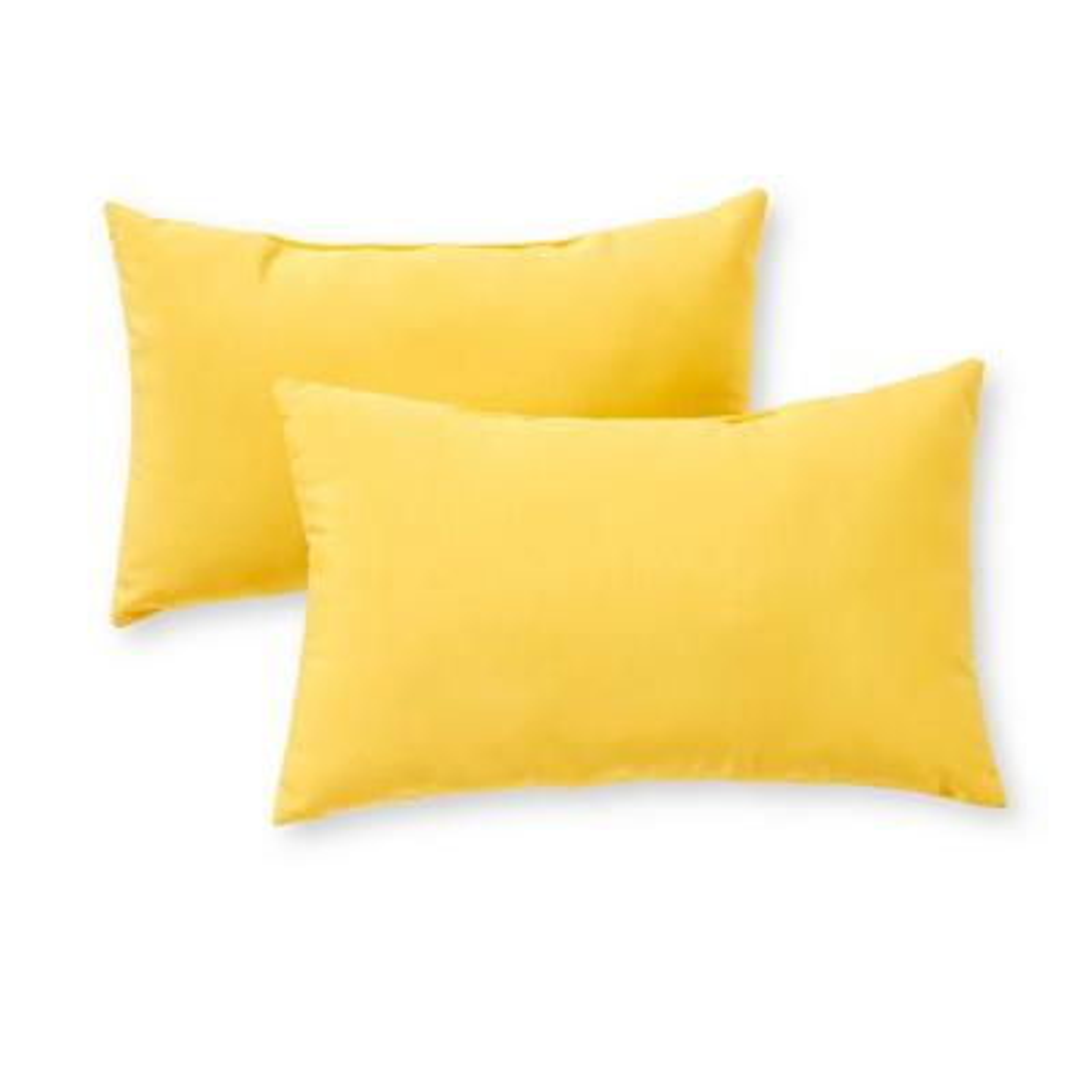 Solid Sunbeam Yellow Lumbar Outdoor Throw Pillow (2-Pack)