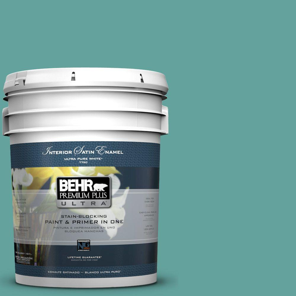5-gal. #M450-5 Aqua Rapids Satin Enamel Interior Paint