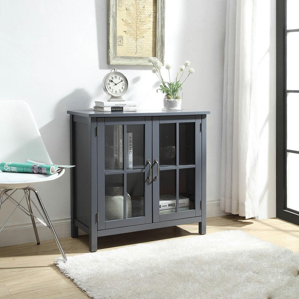 Charmant Olivia Grey Accent Cabinet With 2 Glass Doors