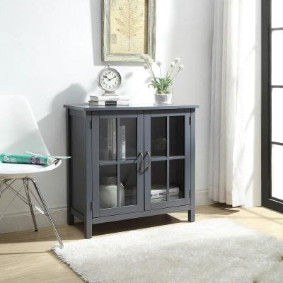 Olivia Grey Accent Cabinet with 2-Glass Doors