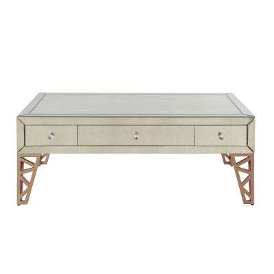 Stephen Mirrored and Gold Coffee Table