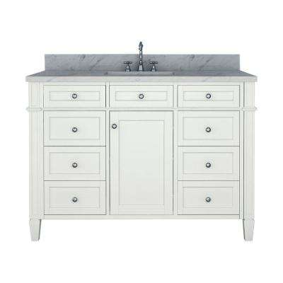 Samantha 48 in. W x 22 in. D Bath Vanity in White with Marble Vanity Top in White with White Basin