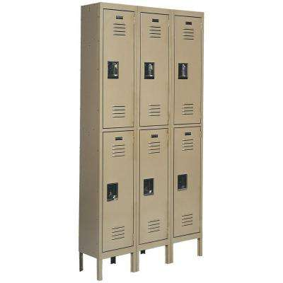 Citadel 36 in. W x 18 in. D x 72 in. H Steel Double Tier Lockers in Tan/Gray