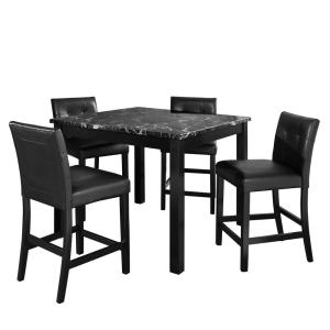 Dorel Living Laurel 5 Piece Transitional Black Counter Height Dining Set With Faux Marble Table Top Fa7241b The Home Depot