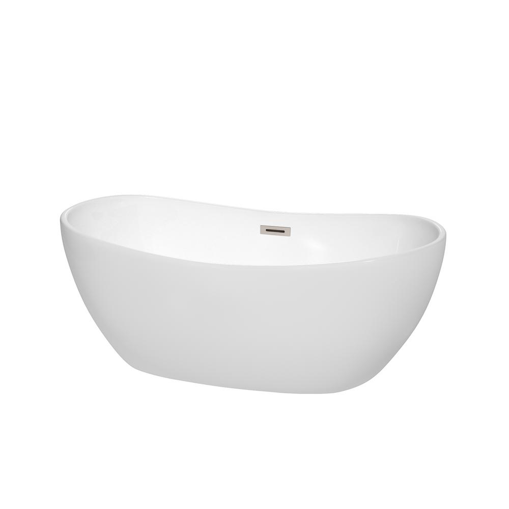 Wyndham Collection Rebecca 60 in. Acrylic Flatbottom Non-Whirlpool Bathtub in White with Brushed Nickel Trim
