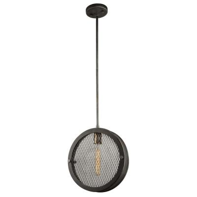 1-Light Granite Black and Vintage Brass Pendant