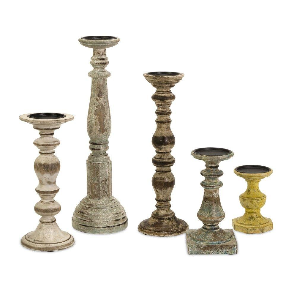 Imax Trans Cain Distressed Wood Candle Holders Set Of 5