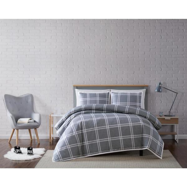 Truly Soft Leon Plaid Grey Full/Queen 3-Piece Duvet Cover Set