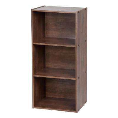Dark Brown 3-Tier Basic Wood Bookcase Storage Shelf