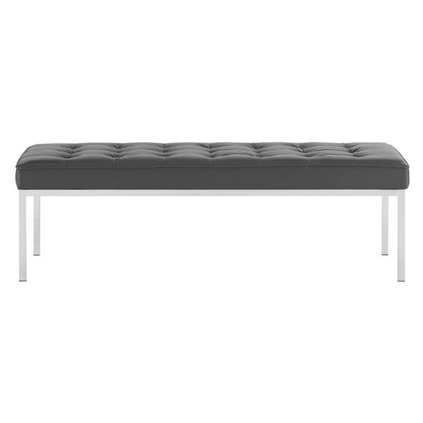 MODWAY Loft Silver Gray Tufted Button Large Upholstered Faux Leather Bench