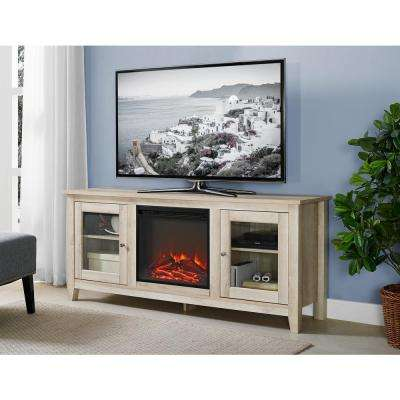 58 in. Wood Media TV Stand Console Electric Fireplace in White Oak