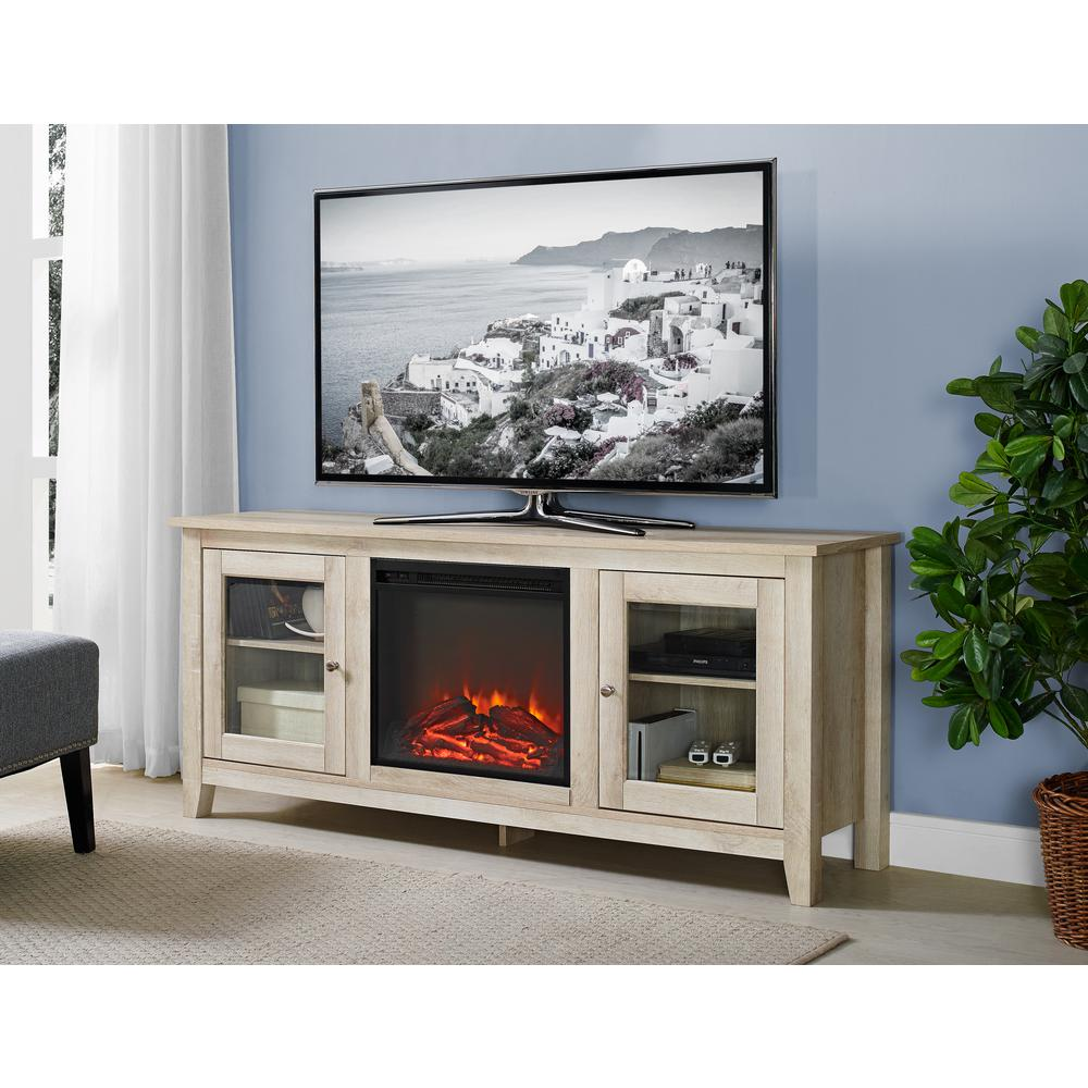 walker edison furniture company 58 in wood media tv stand console electric fireplace in white. Black Bedroom Furniture Sets. Home Design Ideas