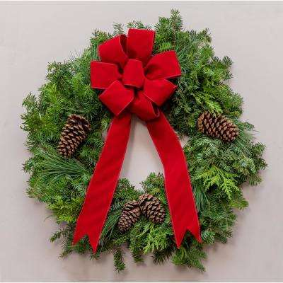 24 in. Live Wreath, Fresh Cut Mixed Greens, Classic Red Bow and Natural Pinecones