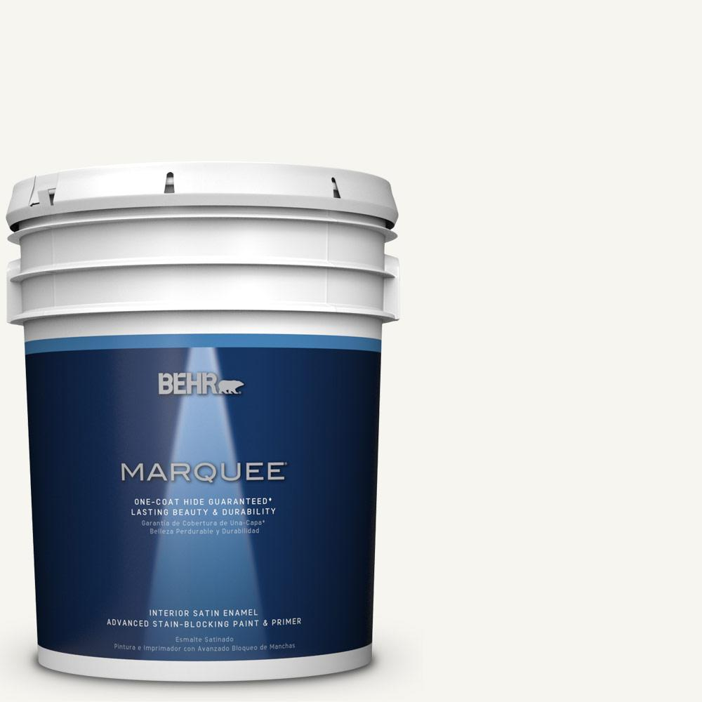 5 gal. #HDC-WR16-01 Snow Day Satin Enamel Interior Paint