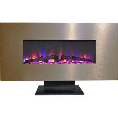 42 in. Metallic Electric Fireplace in Bronze with Multi-Color Log Display