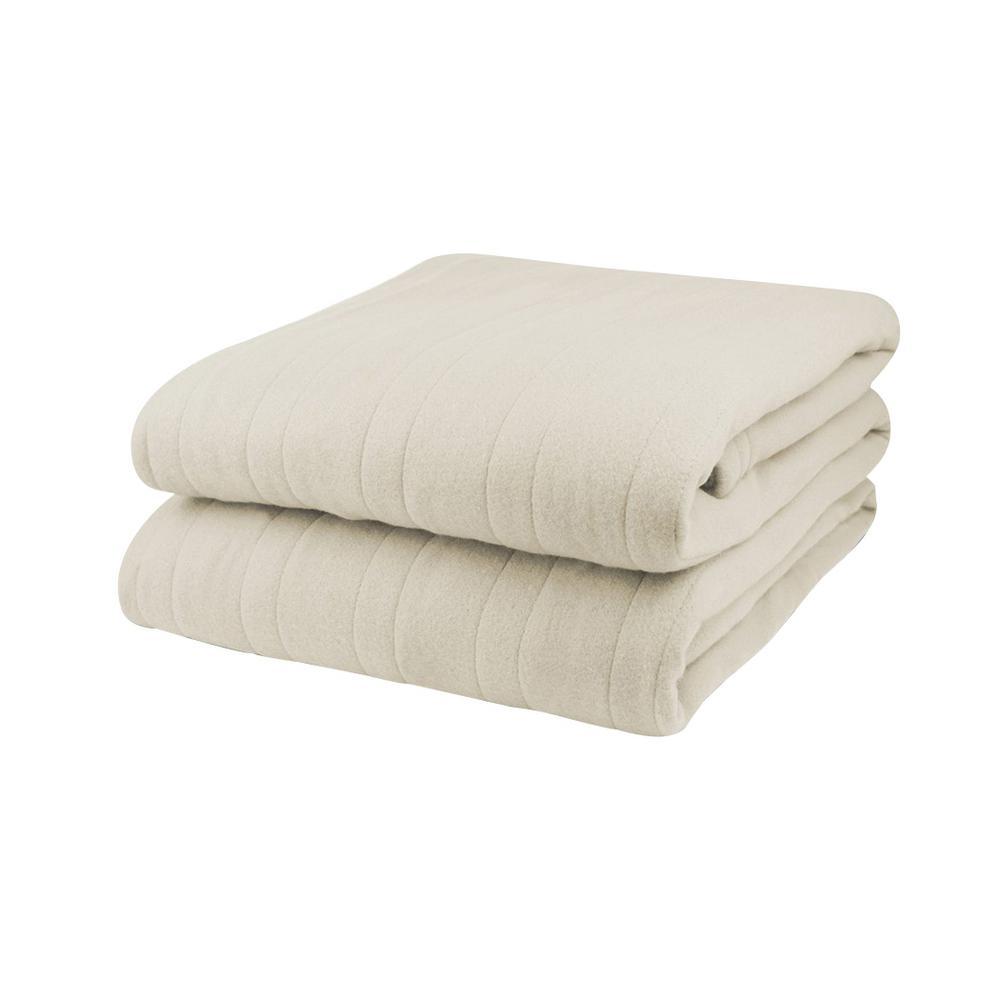 1003 Series Comfort Knit Heated 84 in. x 90 in. Natural Queen Blanket