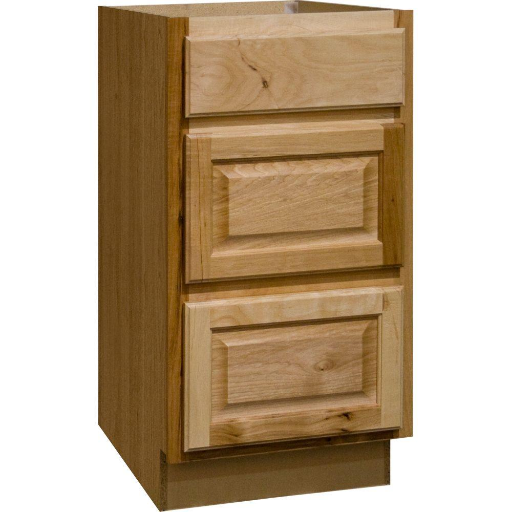 Hampton Bay Hampton Assembled 18x34.5x24 in. Drawer Base Kitchen Cabinet with Ball-Bearing Drawer Glides in Natural Hickory