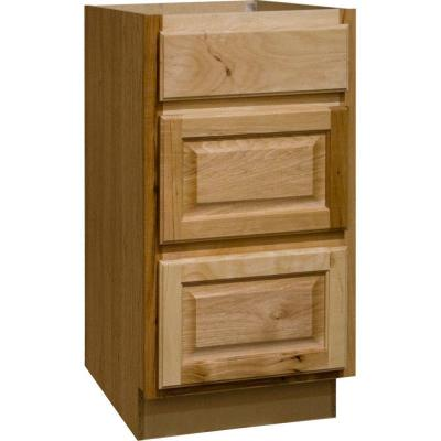 Hampton Assembled 18x34.5x24 in. Drawer Base Kitchen Cabinet with Ball-Bearing Drawer Glides in Natural Hickory