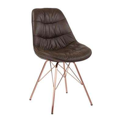 Langdon Saddle Distressed Fabric Chair with Rose Gold Base