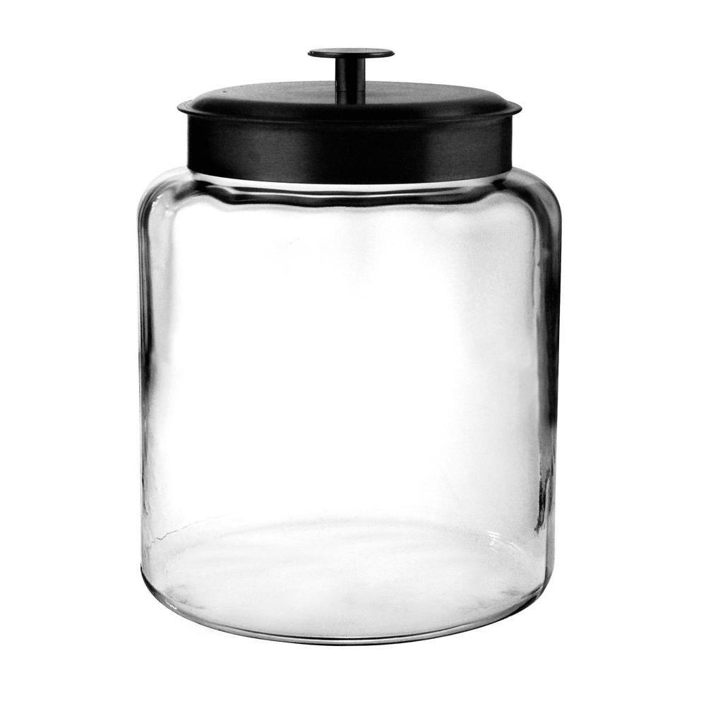Anchor Hocking 2 gal. Montana Jar with Metal Cover, Clear Generous mouth openings allow for easy access, fitment around the lid allows for a tight storage and the perfect place to store cereals, pastas, flour, sugar, or any of your favorite items. Stylish design makes it hard to keep these jars in the pantry. They look great on the counter. Color: Clear.