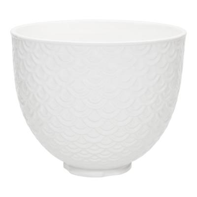 5 Qt. White Mermaid Lace Textured Ceramic Bowl