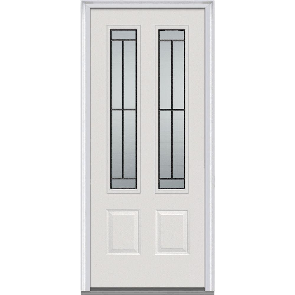 MMI Door 36 in. x 80 in. Madison Right-Hand 2-3/4 Lite 2-Panel Classic Primed Steel Prehung Front Door