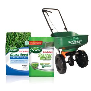 20 lb. 8,000 sq. ft. Turf Builder Sun and Shade Grass Seed, 15 lb. 5,000 sq. ft. Fertilizer and Spreader Bundle
