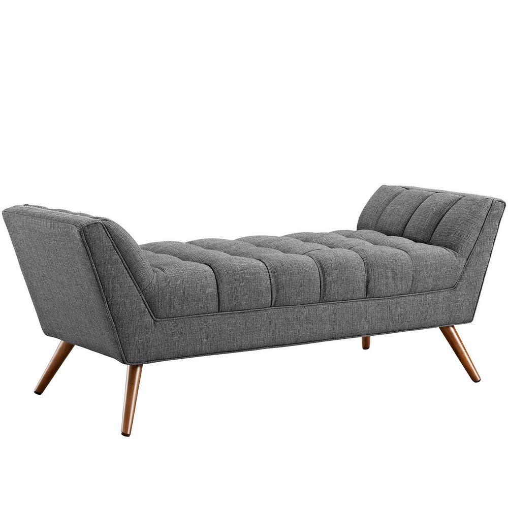 Gray Response Medium Upholstered Fabric Bench