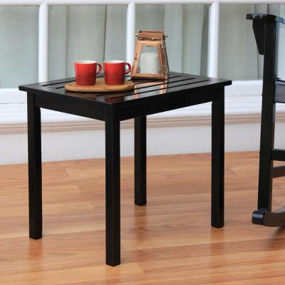 Thames Black Wood Outdoor Side Table