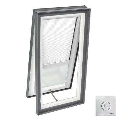 22-1/2 in. x 46-1/2 in. Venting Curb Mount Skylight w/ Tempered Low-E3 Glass & White Solar Powered Light Filtering Blind