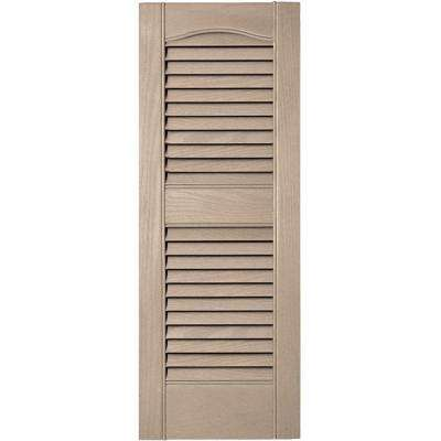 12 in. x 31 in. Louvered Vinyl Exterior Shutters Pair #023 Wicker