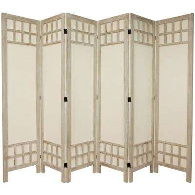 6 ft. Burnt White Muslin Window Pane 6-Panel Room Divider