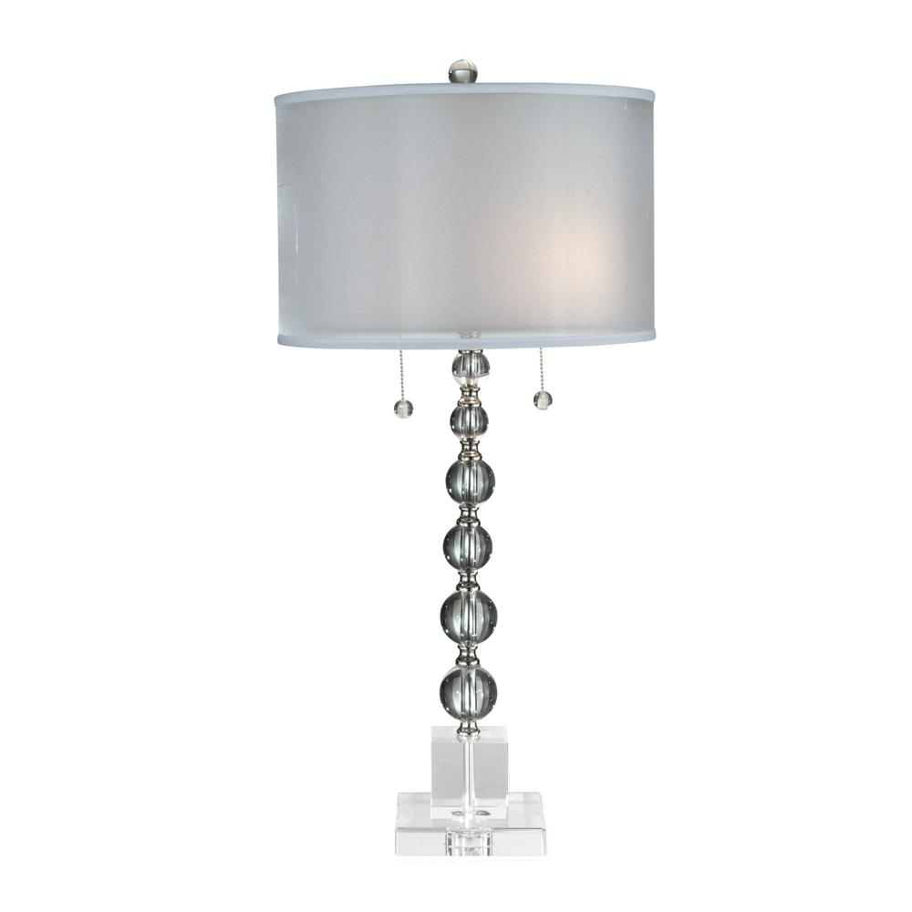 Dale tiffany 31 in satin nickel optic crystal table lamp with dale tiffany 31 in satin nickel optic crystal table lamp with fabric shade aloadofball Image collections