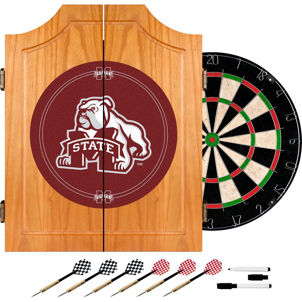 Mississippi State University Wood Finish Dart Cabinet Set