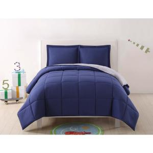 Anytime Solid Navy and Grey Reversible Full/Queen Comforter Set (3-Piece) by