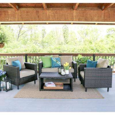 Draper 4-Piece Wicker Patio Conversation Set with Sunbrella Cast Ash Cushions