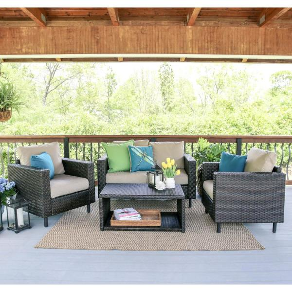 Leisure Made Draper 4-Piece Wicker Patio Conversation Set with Sunbrella Cast Ash Cushions