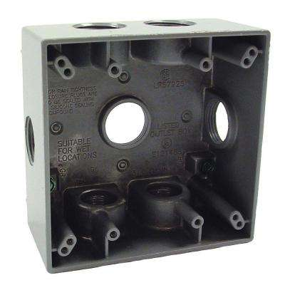 2-Gang Weatherproof Gray Box with Seven 3/4 in. Outlets