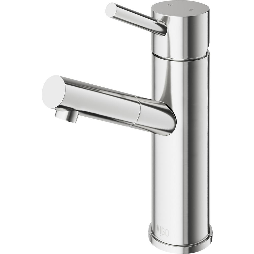 VIGO Single Hole 1-Handle Bathroom Faucet in Brushed Nickel