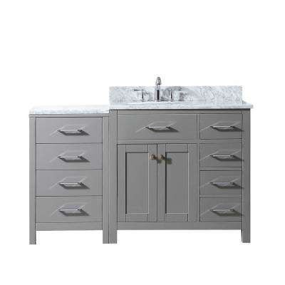 Caroline Parkway 56 in W. Bath Vanity in Cashmere w/ Marble Vanity Top in White w/ Oval White Basin and w/Faucet