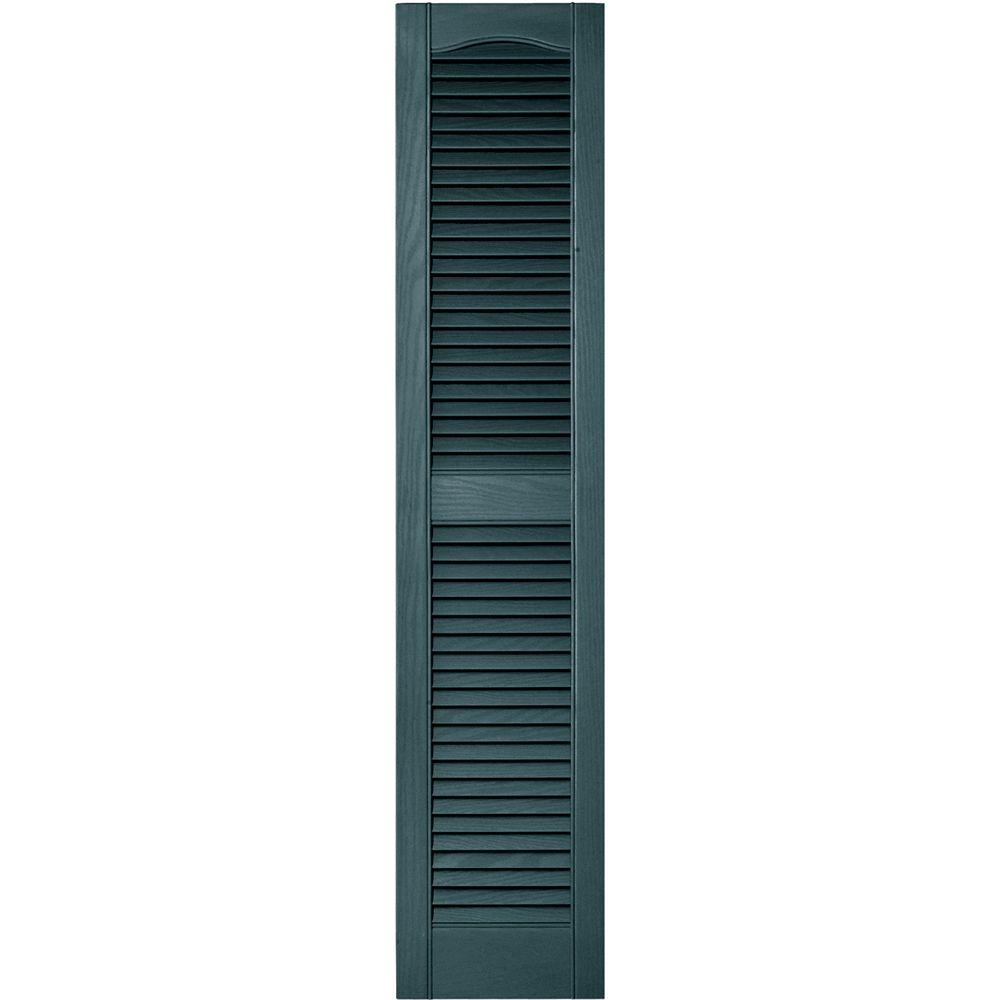 Builders Edge 12 In X 55 In Louvered Vinyl Exterior Shutters Pair In 004 Wedgewood Blue