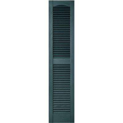 12 in. x 55 in. Louvered Vinyl Exterior Shutters Pair in #004 Wedgewood Blue