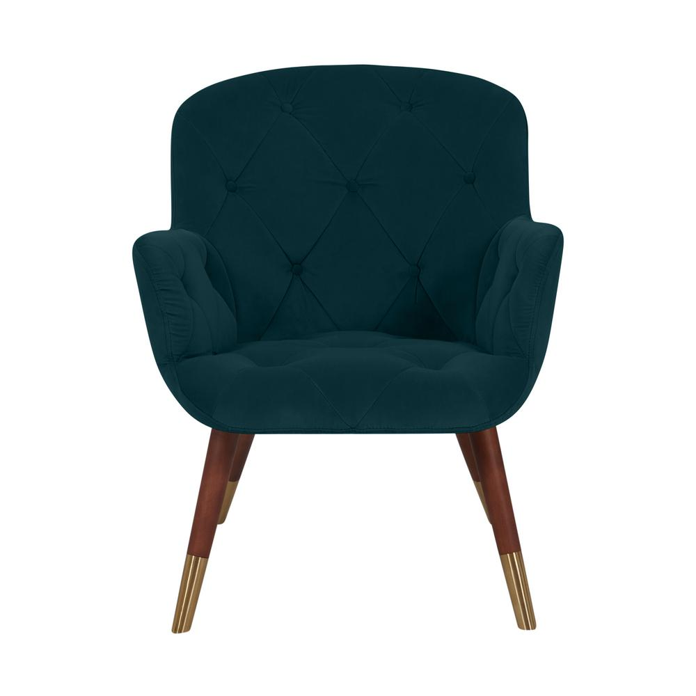 Halen Teal Green Velvet Diamond Tufted Arm Chair
