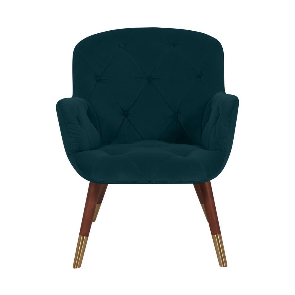 Halen Teal Green Velvet Diamond Tufted Arm Chair