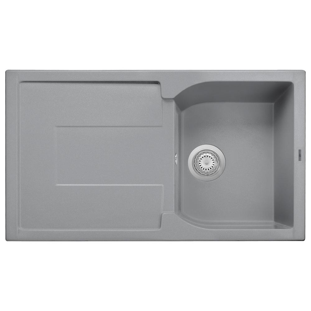 Drop-In Granite Composite 33.88 in. Single Bowl Kitchen Sink in Titanium