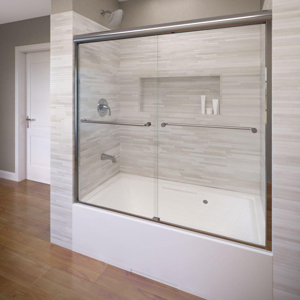 Celesta 60 in. x 58-1/4 in. AquaglideXP Clear Semi-Framed Sliding Door in Silver