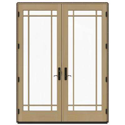 72 in. x 96 in. W-4500 Contemporary Brown Clad Wood Right-Hand 9 Lite French Patio Door w/Unfinished Interior