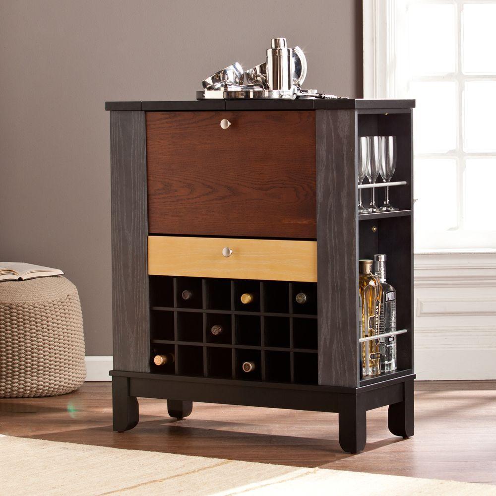 Chloe Black and Multi-Tonal Wood Bar with Expandable Storage