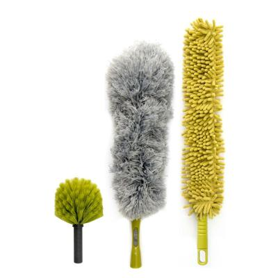Dusting Kit for Extension Pole or by Hand Includes Cobweb Duster, Microfiber Feather Duster, Chenille Fan Duster