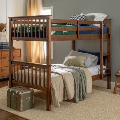 Solid Wood Twin over Twin Mission Design Bunk Bed - Walnut